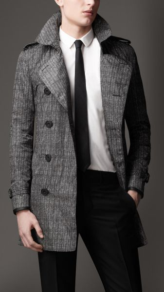 Burberry Mid-length Herringbone Trench Coat with Leather Trim in Gray for Men (nickel) - Lyst
