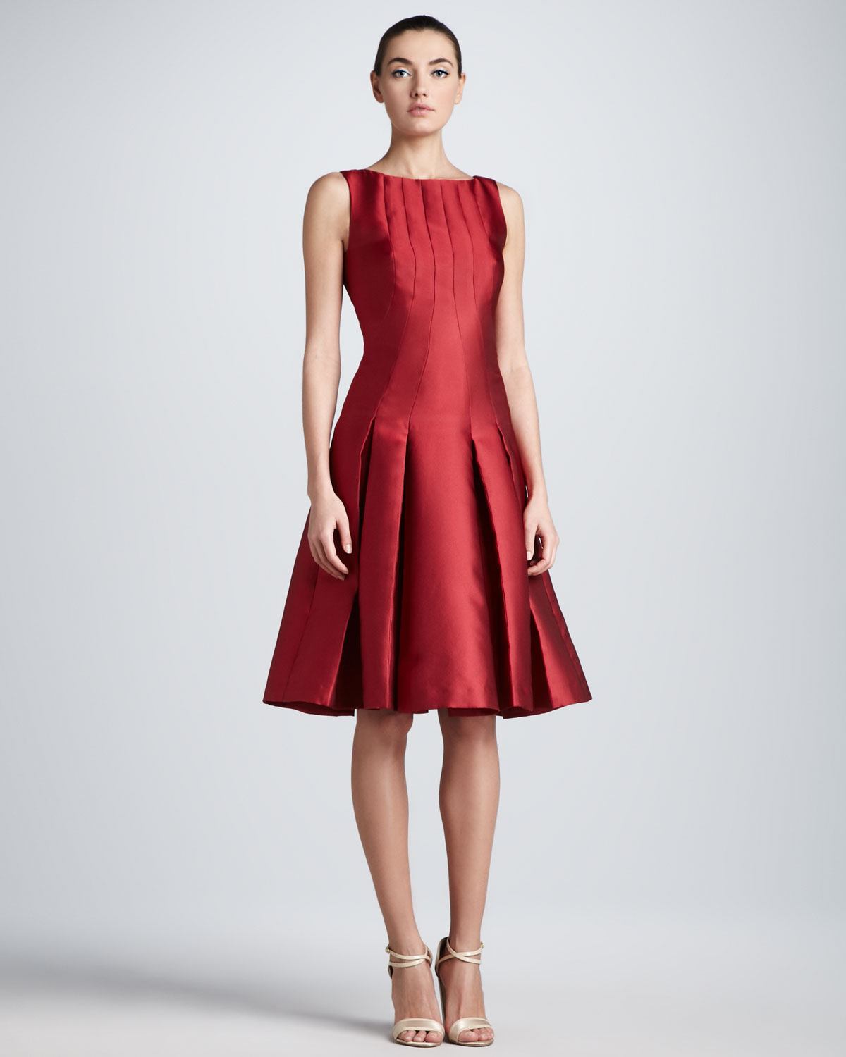Lyst - Carolina Herrera Dropwaist Duchess Cocktail Dress in Red