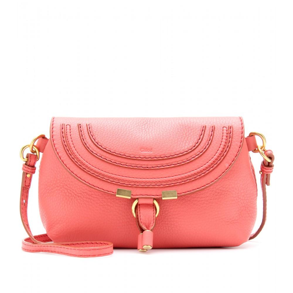chlo marcie small leather shoulder bag in pink coral lyst. Black Bedroom Furniture Sets. Home Design Ideas