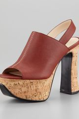 Chloé Alice Leather Cork Platform Sandal - Lyst