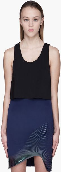 Dion Lee Black 3d Layered Neo Tank Top - Lyst