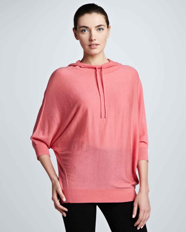 donna karan new york dolmansleeve cashmere hoodie in pink. Black Bedroom Furniture Sets. Home Design Ideas