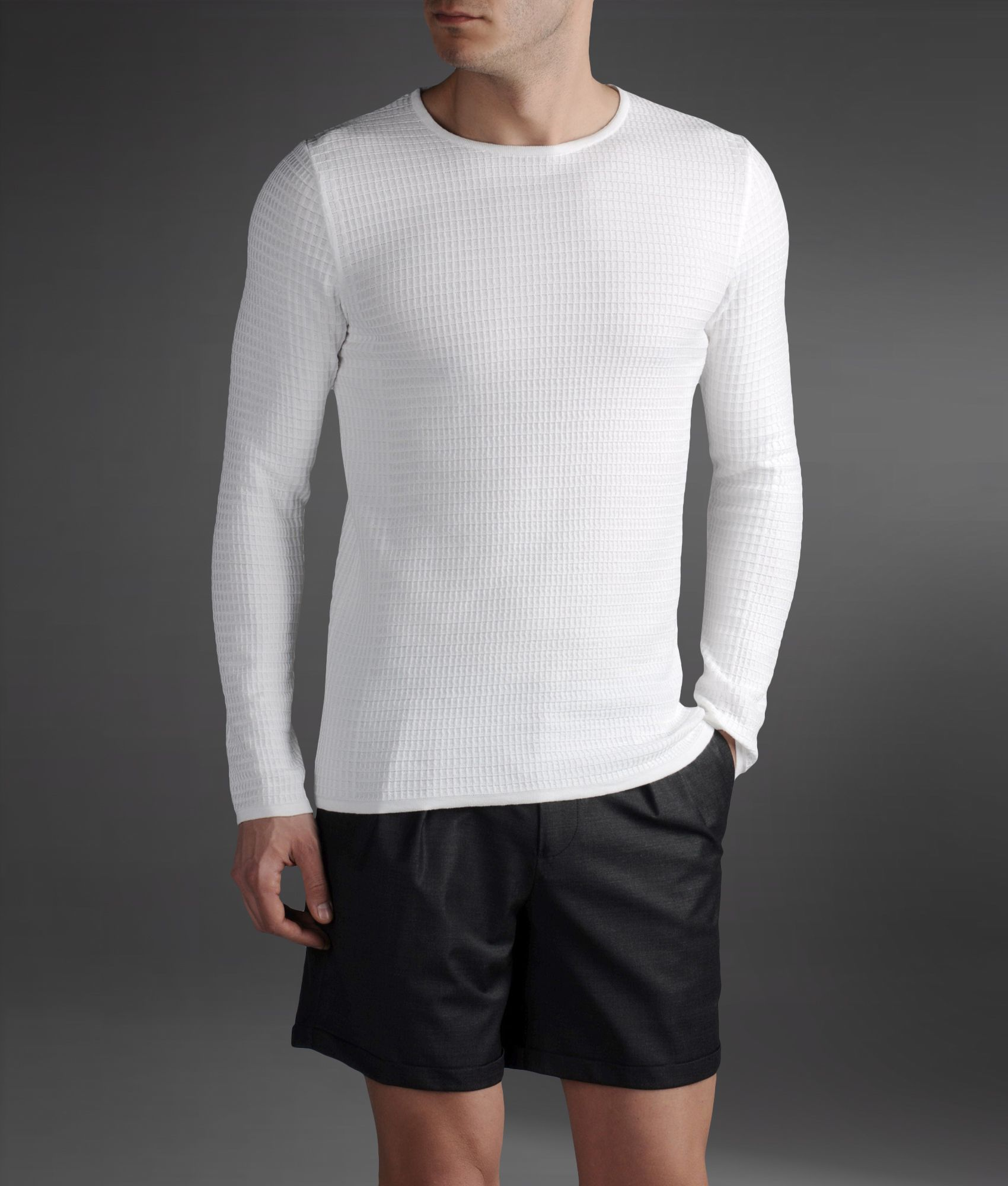 emporio armani sweater in check textured cotton in white for men lyst. Black Bedroom Furniture Sets. Home Design Ideas