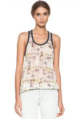 Etoile Isabel Marant Foxton All Over Printed Linen Tank in Mauve - Lyst