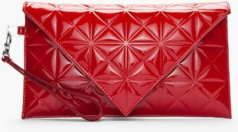 Gareth Pugh Red Patent Leather Triangleembossed Envelope Clutch - Lyst