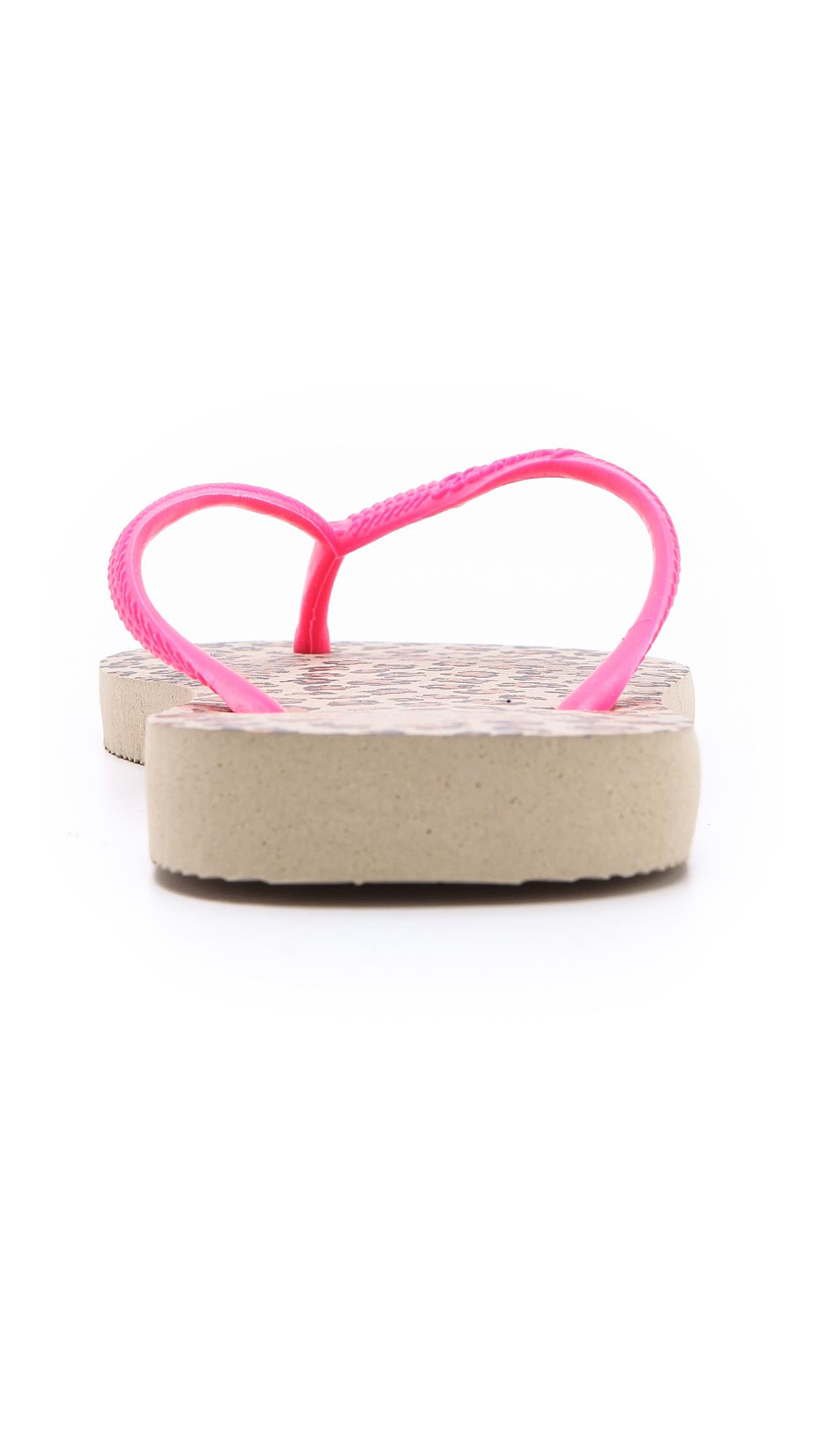 Lyst Havaianas Slim Animals Fluoro Flip Flops In Pink