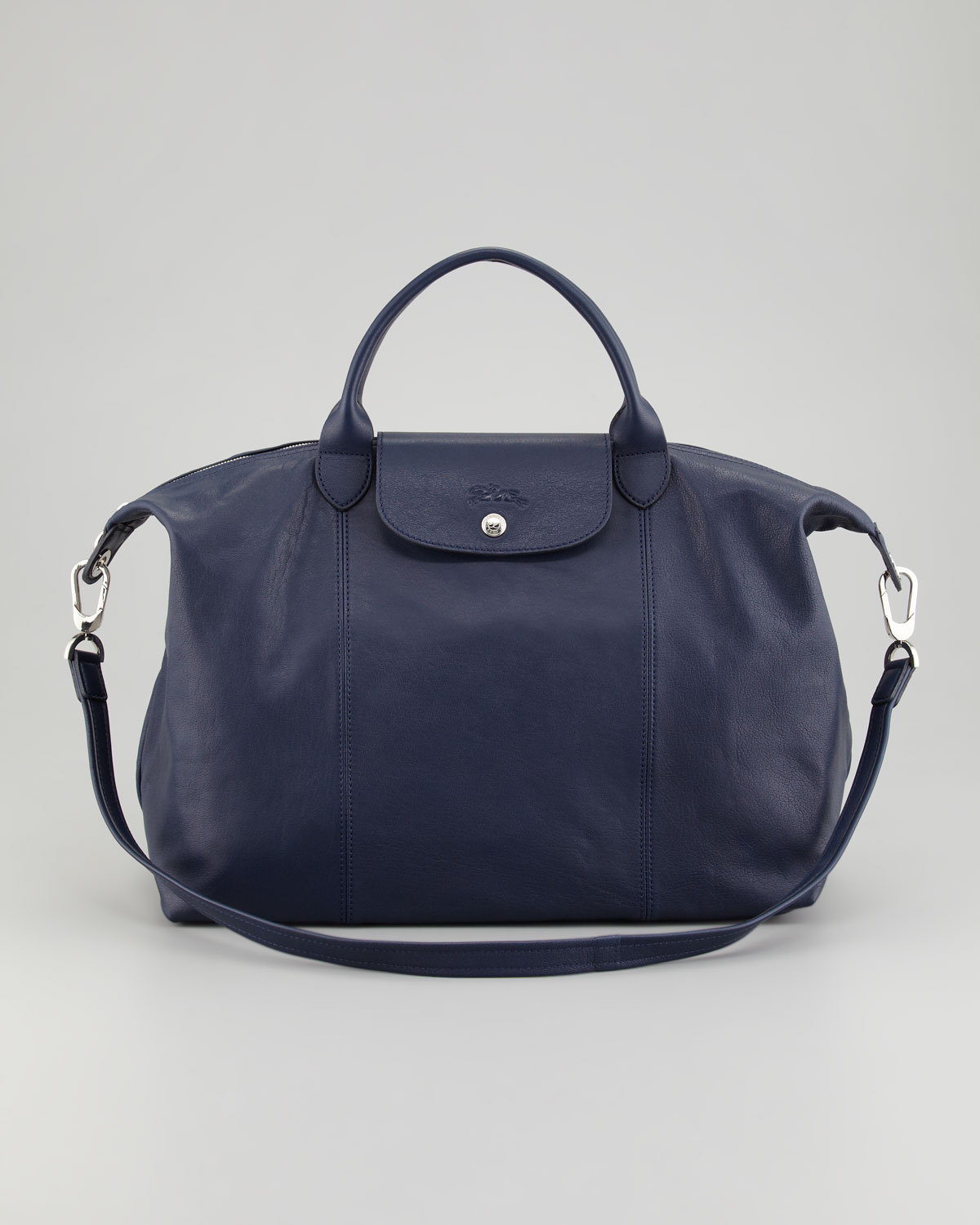 longchamp le pliage cuir large tote bag in blue lyst. Black Bedroom Furniture Sets. Home Design Ideas