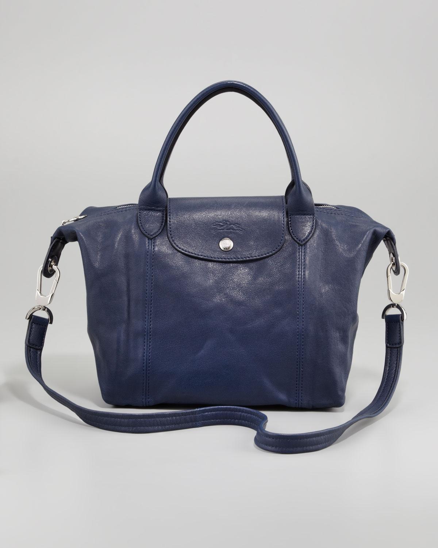 Longchamp Laukut Tori : Longchamp le pliage cuir small handbag in blue lyst