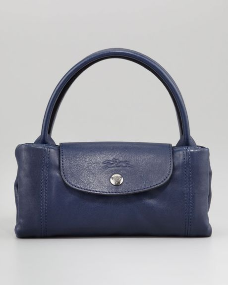 Longchamp Le Pliage Cuir Small Handbag in Blue (navy)