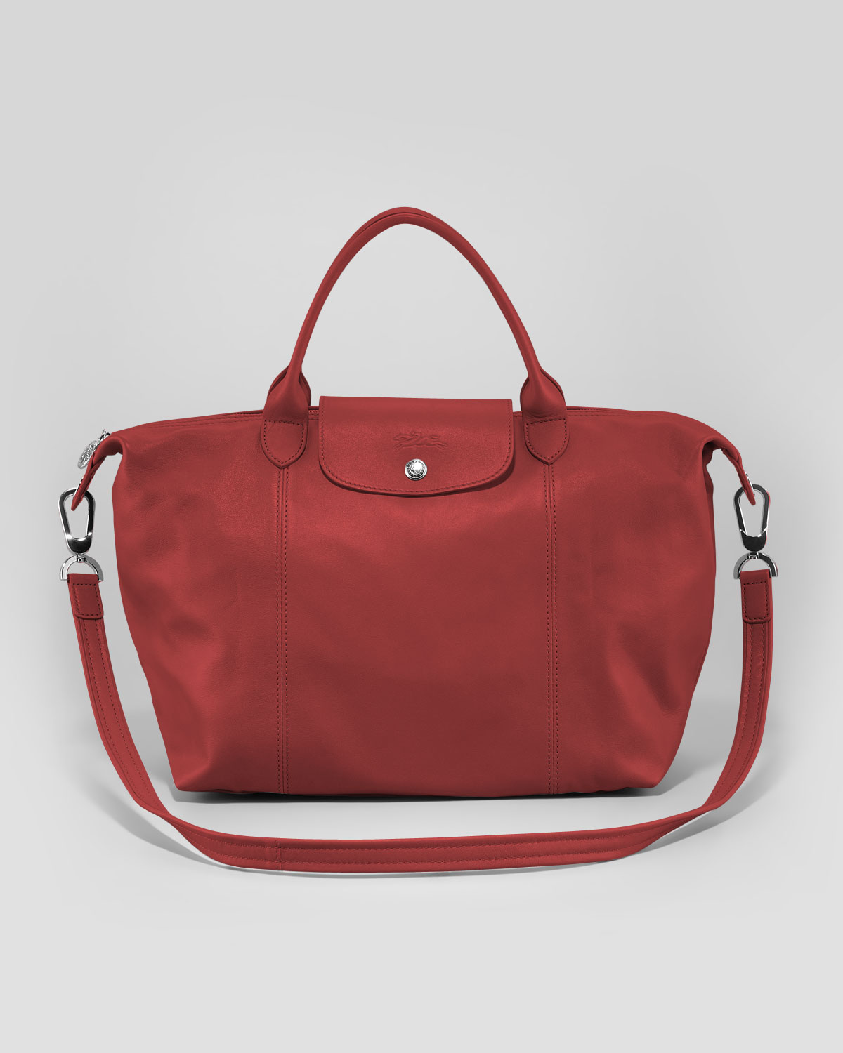 longchamp le pliage cuir handbag with strap in red lyst. Black Bedroom Furniture Sets. Home Design Ideas