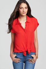 Michael Stars Collared Button Down Blouse  - Lyst