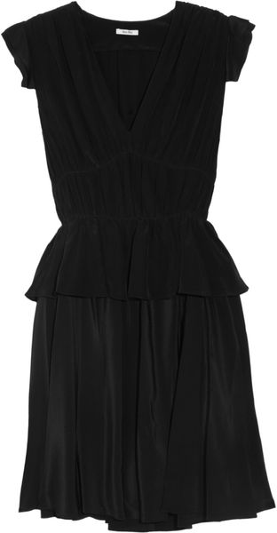Miu Miu Ruffled Silk Crepe De Chine Mini Dress - Lyst