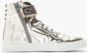 Pierre Hardy Metallic Silver Patent Leather 112 Sneakers - Lyst