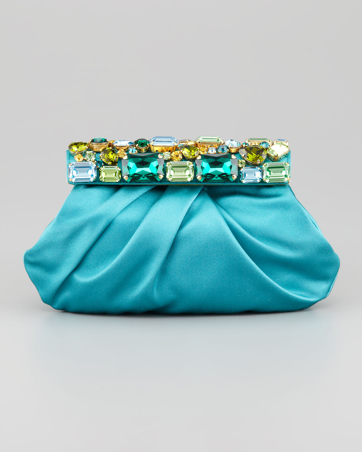 prada pink leather handbag - Prada Raso Jeweled Satin Clutch Bag in Blue (pavone) | Lyst