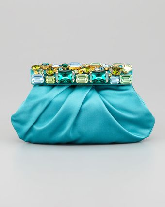 Prada Raso Jeweled Satin Clutch Bag - Lyst