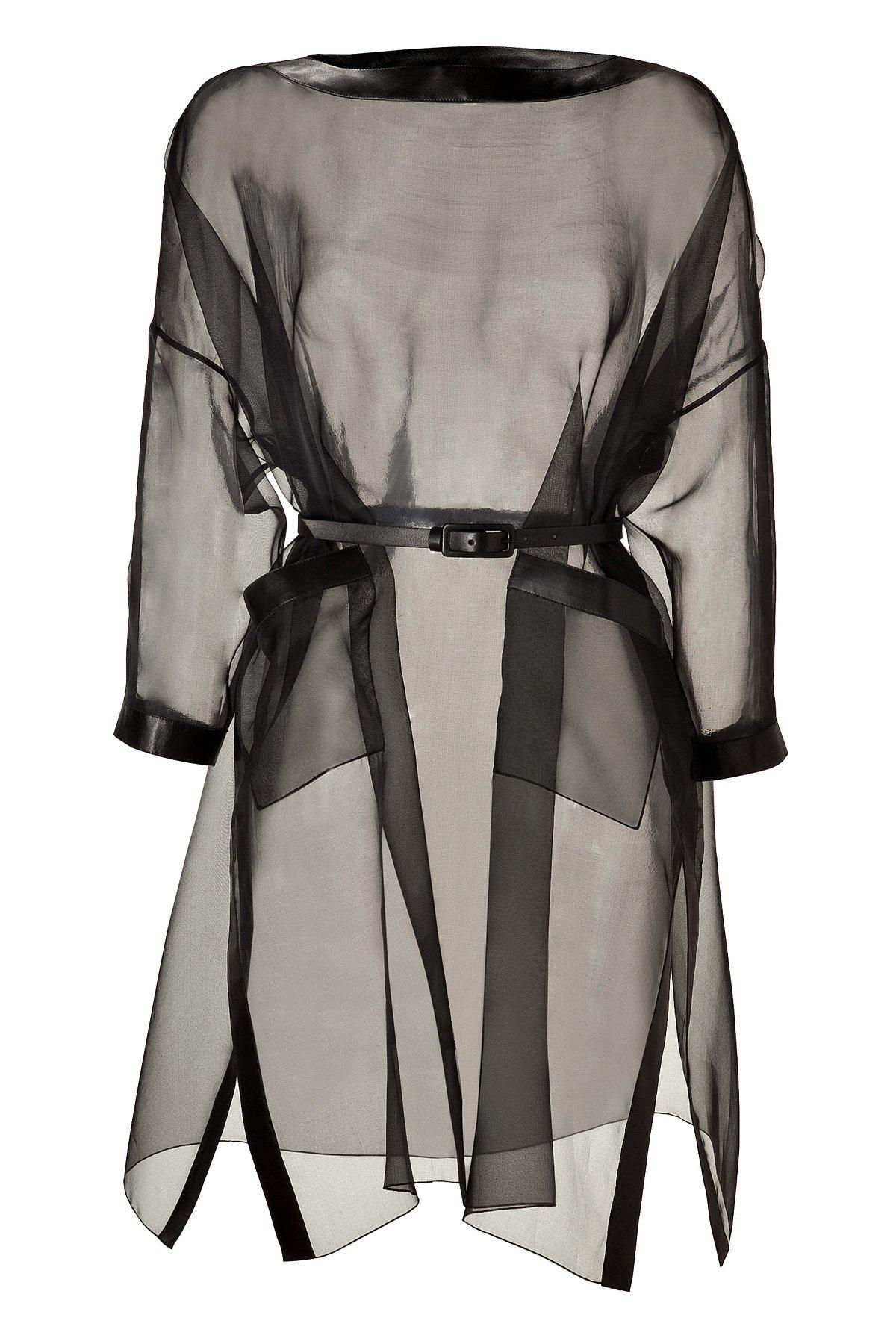 Lyst Valentino Black Silk Organza Belted Dress With