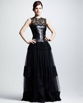 Valentino Leather Lace Gown - Lyst