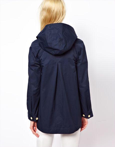 Ymc Swing Hooded Coat In Waterproof Waxed Cotton In Blue
