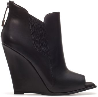 Zara Peep Toe Wedge Ankle Boot - Lyst