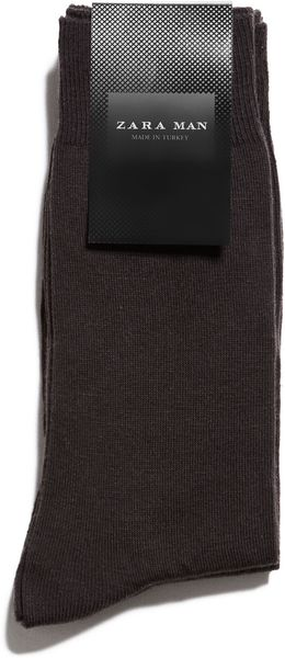 Zara Plain Cotton Socks - Lyst