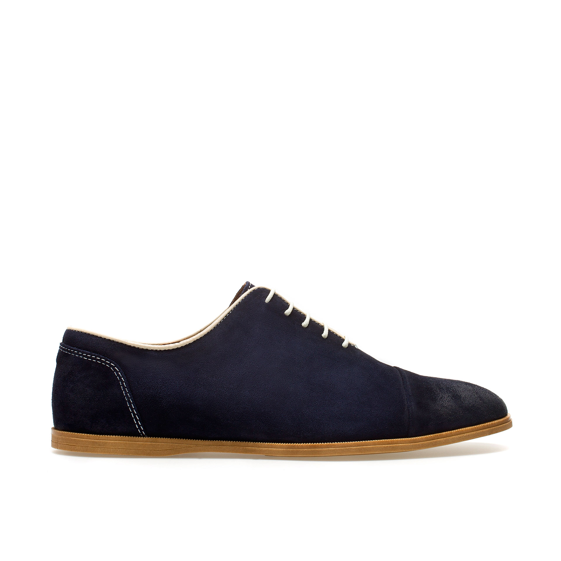 zara suede oxford shoe in blue for navy blue lyst