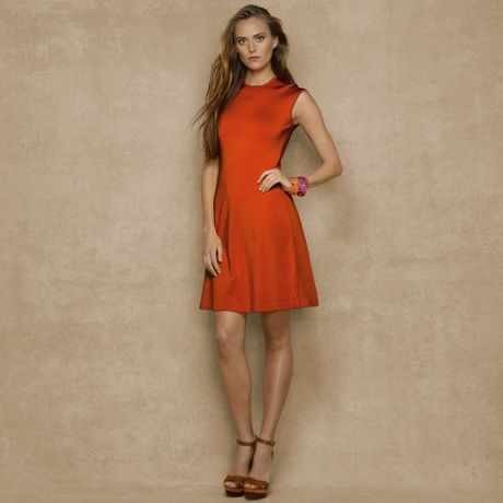 Orange And Blue Sweater Dress Sweater Dress in Orange