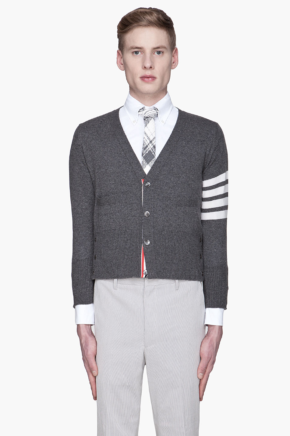 Thom browne Charcoal Grey Classic Cashmere Cardigan in Gray for ...