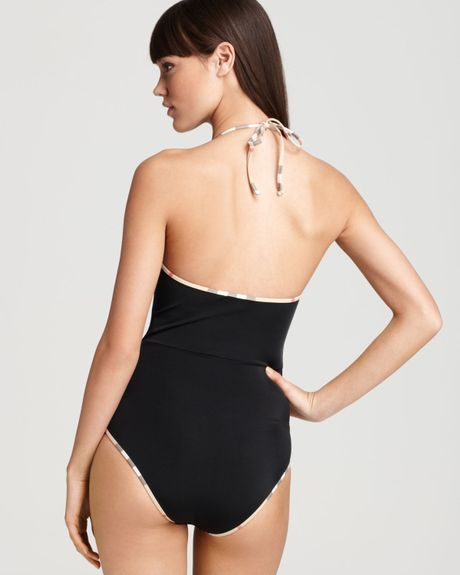 Burberry Brit Check Trim Plunge One Piece Swimsuit In