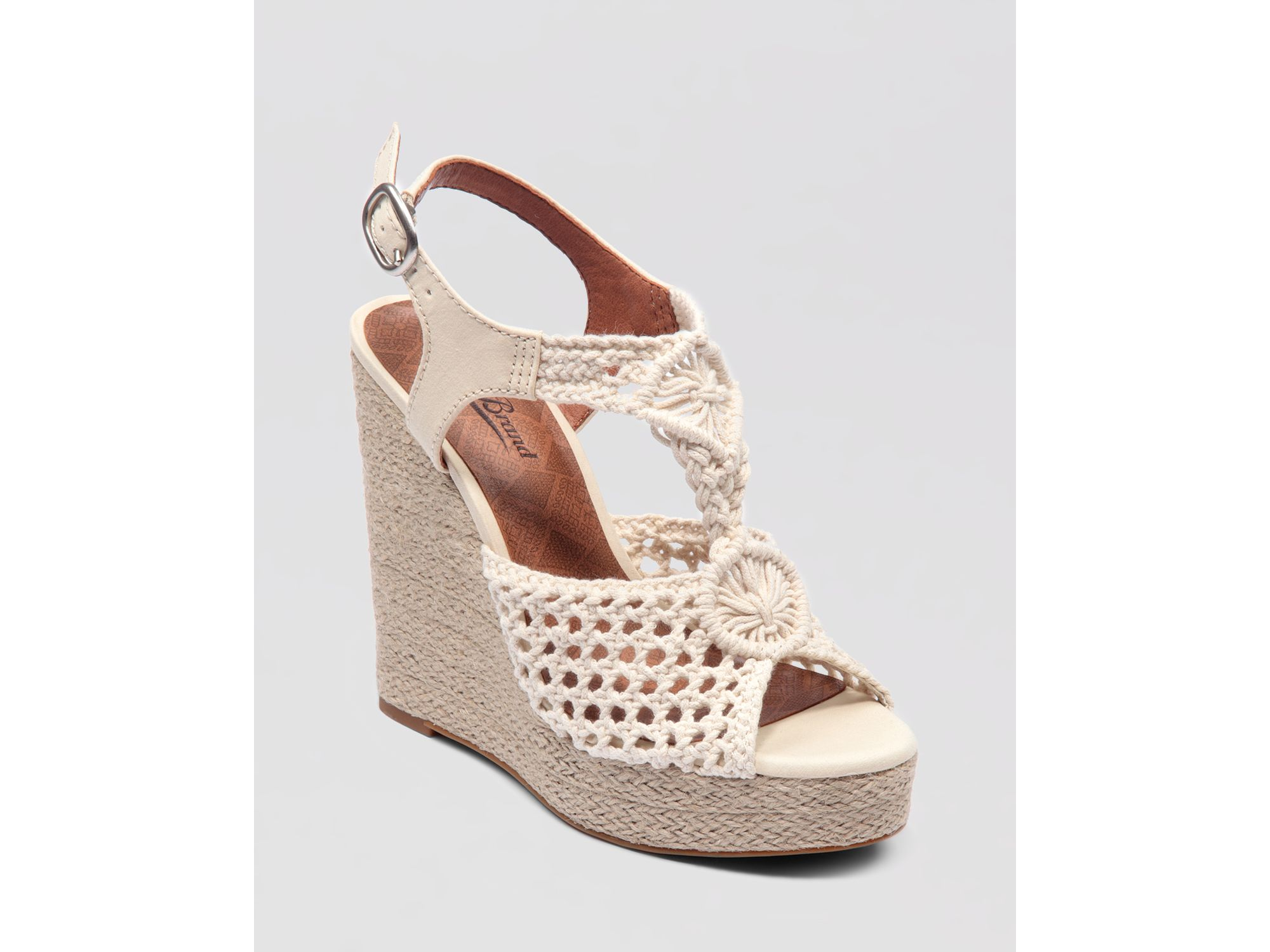 lucky brand wedge platform sandals rilo crochet in white