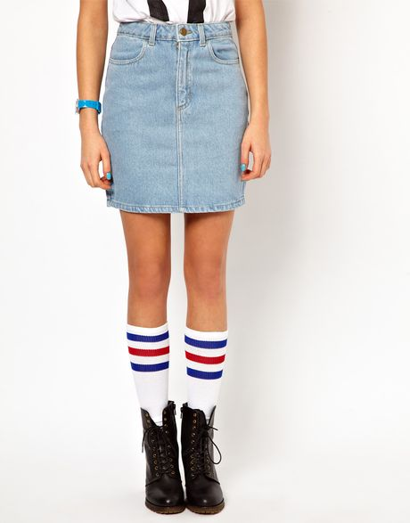 american apparel high waisted denim mini skirt in blue