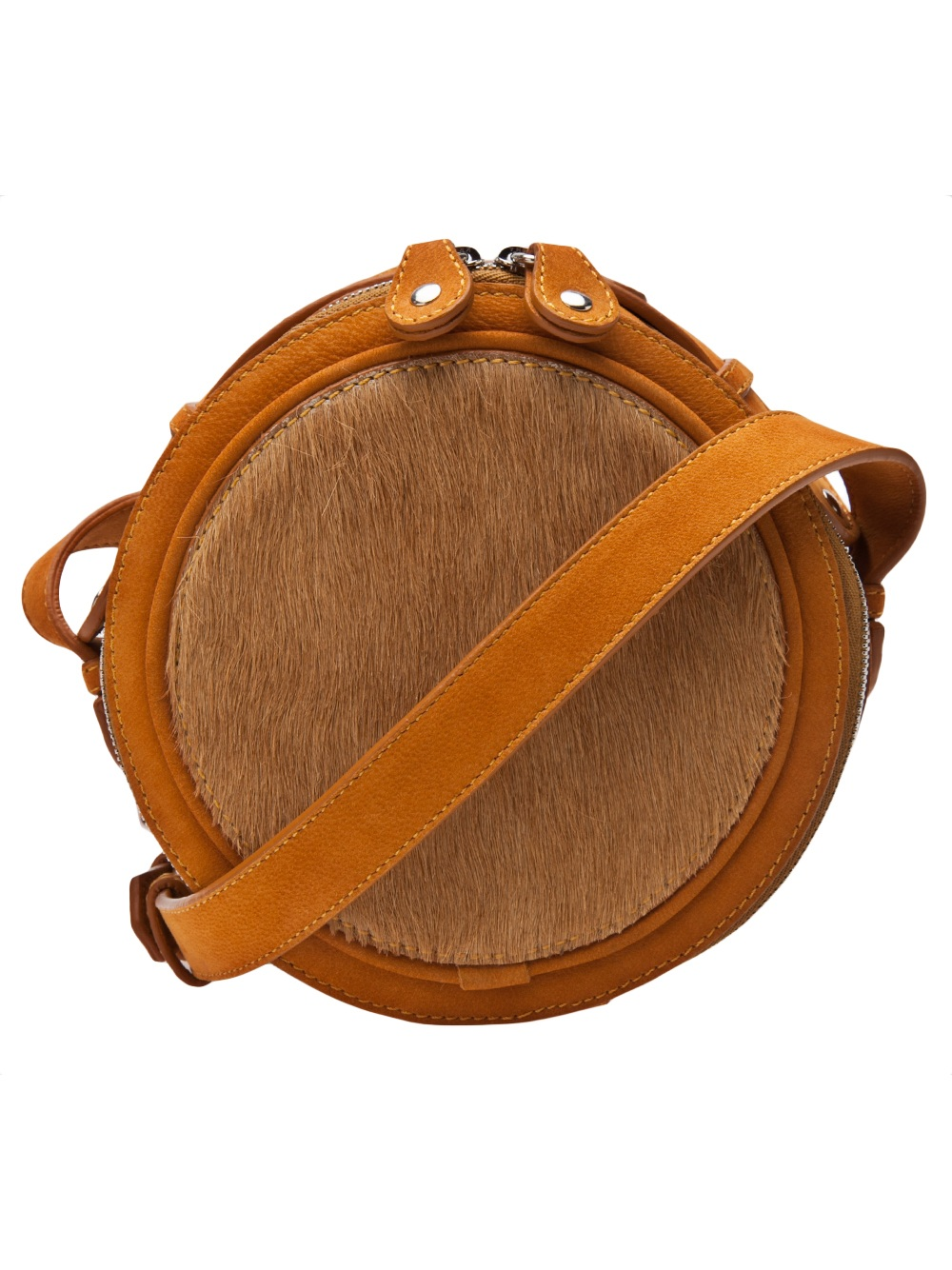 Carven Round Leather Bag In Brown Lyst