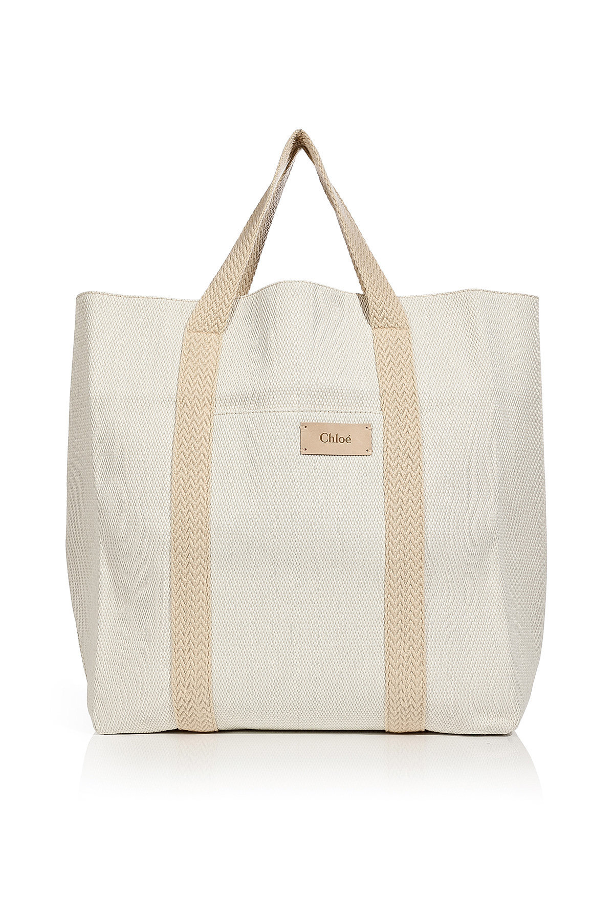 Chloé Cream Cotton Blend Oversized Beach Tote in Natural | Lyst