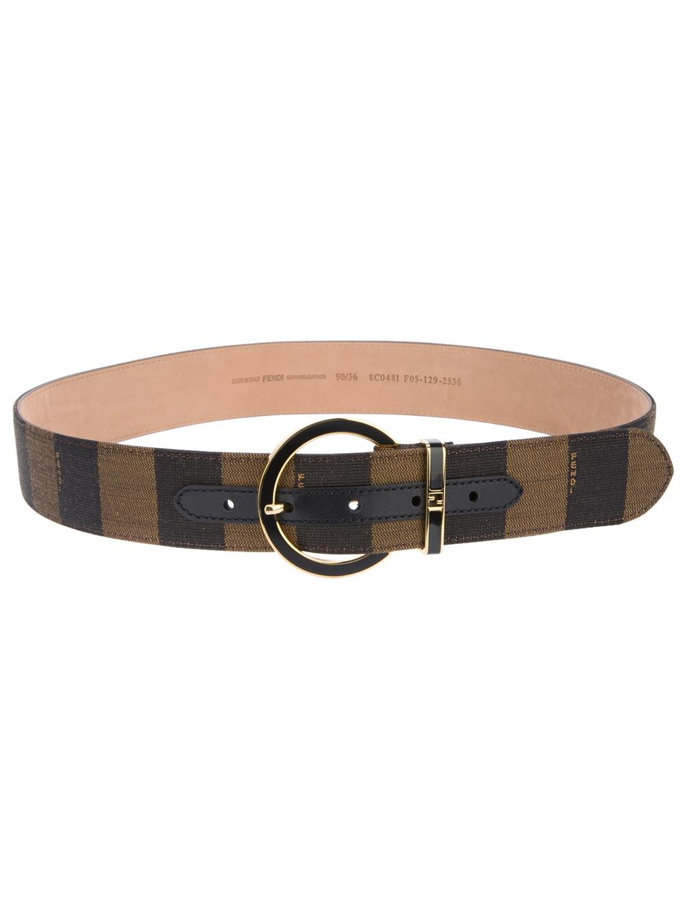 fendi stripe belt in brown lyst