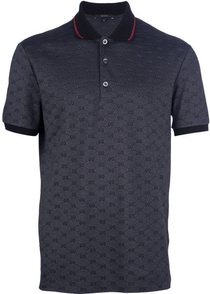 Gucci Printed Polo Shirt in Black for Men