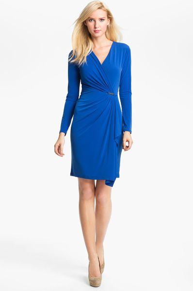 Michael Michael Kors Faux Wrap Dress In Blue Start Of