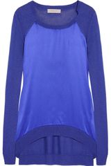 Preen Line Renne Fine Knit and Silk Satin Sweater - Lyst