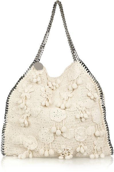 Stella Mccartney Falabella Large Crocheted Shoulder Bag in Beige (cream)