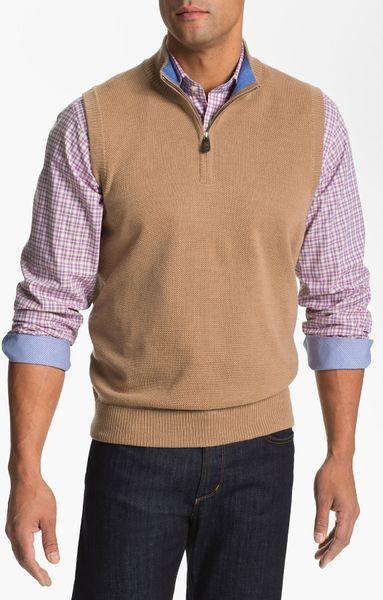 Thomas Dean Quarter Zip Wool Sweater Vest In For Men