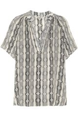 Tucker Printed Silk Top - Lyst