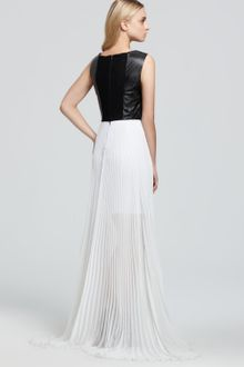 Black Leather Dress on Alice   Olivia Leather Bodice Dress In White  Black  White    Lyst