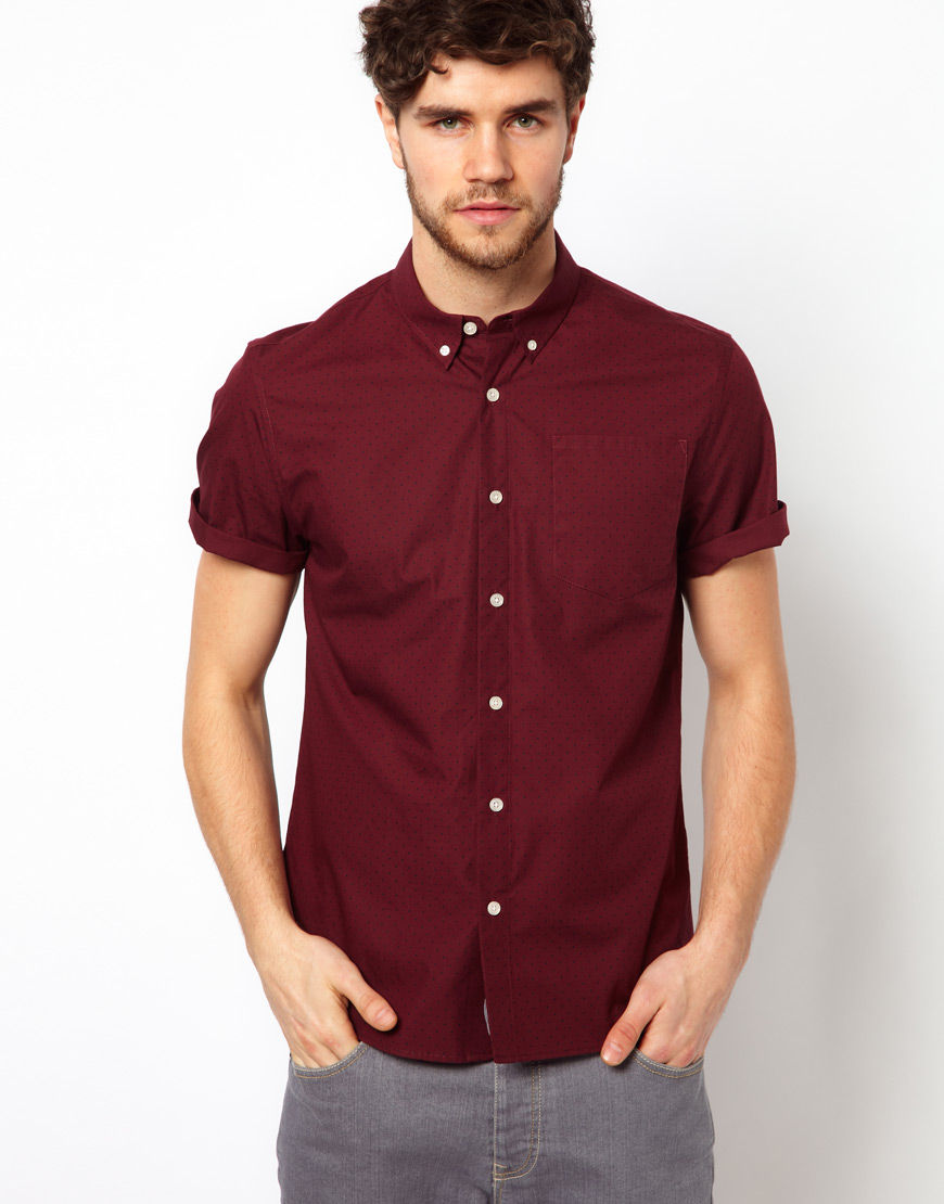 Asos Shirt In Short Sleeve With Polka Dot Print in Red for Men | Lyst