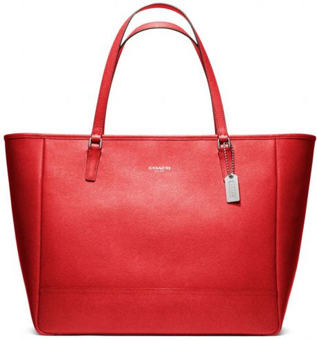 Coach Saffiano Large City Tote in Red (silver/vermillion) - Lyst