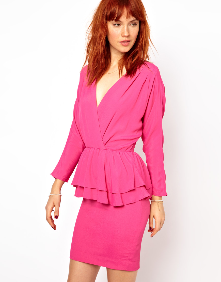 Ganni Peplum Dress in Pink | Lyst