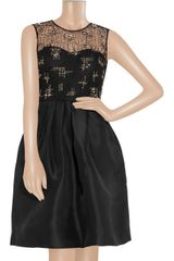 Lela Rose Beaded Lace and Organza Dress in Black - Lyst