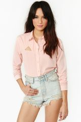 Nasty Gal Ice Breaker Blouse Blush - Lyst