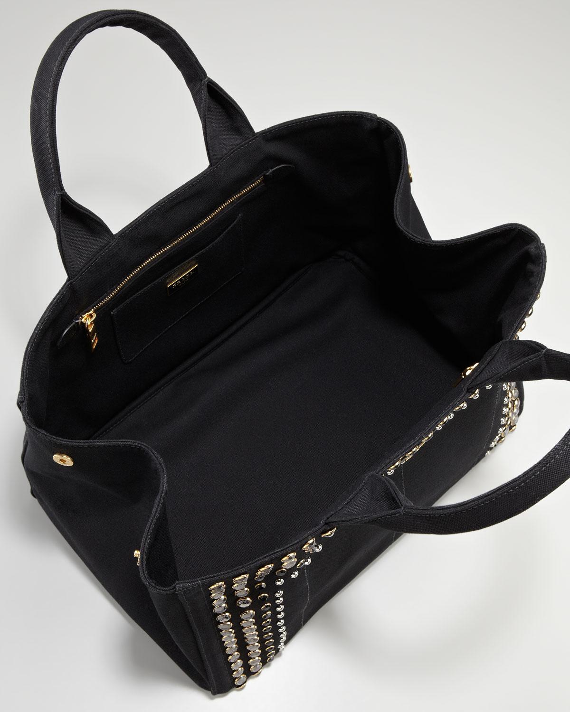 b3fe133e0e0d Lyst - Prada Studded Canvas Gardeners Tote Bag in Black