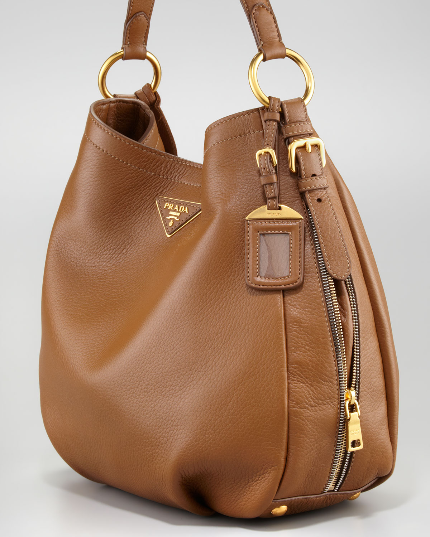 b7fc3a0d7413 Prada Cervo Hobo Bag in Gray - Lyst