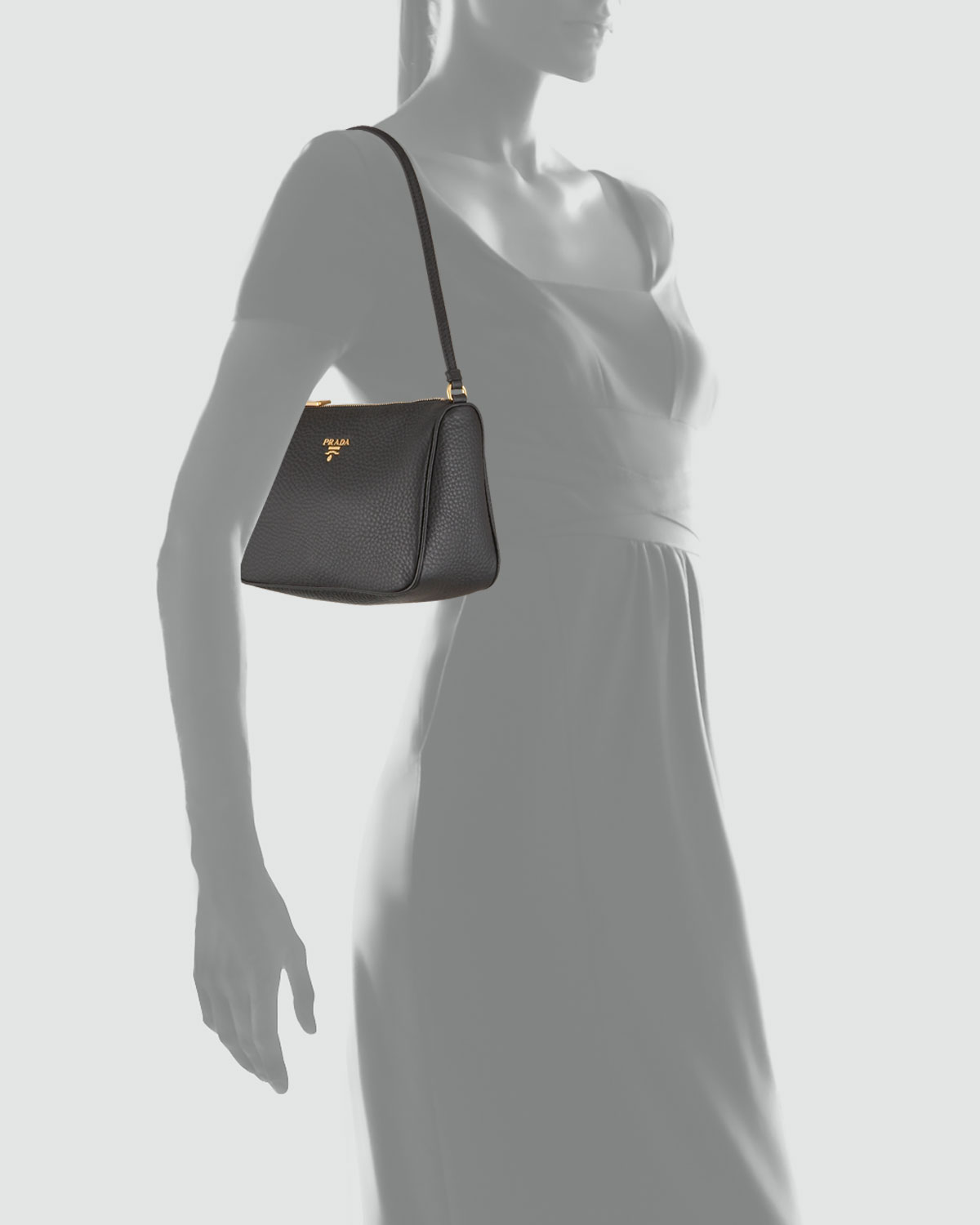 Prada Daino Mini Shoulder Bag in Black (nero) | Lyst