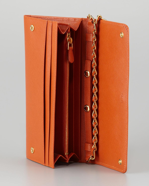Prada Saffiano Wallet On A Chain in Orange (papaya) | Lyst