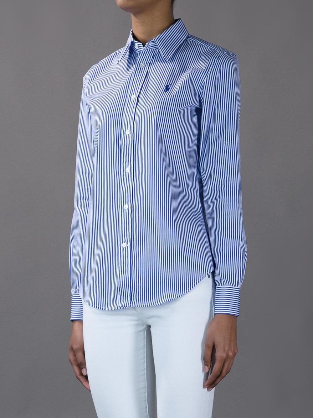 ralph lauren blue label striped button down shirt in blue. Black Bedroom Furniture Sets. Home Design Ideas
